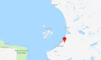 Position de la rivière Coats sur la carte. Source de l'image : Google Maps, image libre de droits.