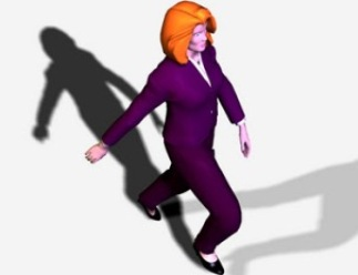 redhead business woman in purple suit