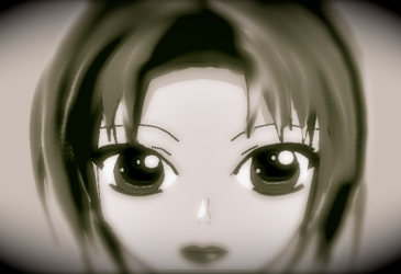 black and white anime face girl