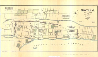 Carte : Montréal et ses fortifications en 1761. Par Paul Labrosse (1914).