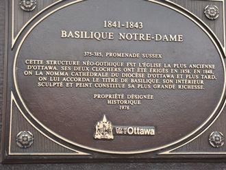 plaque commémorative notre dame d'ottawa