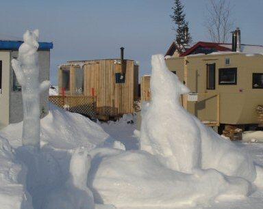 sculpture de neige Les Loups